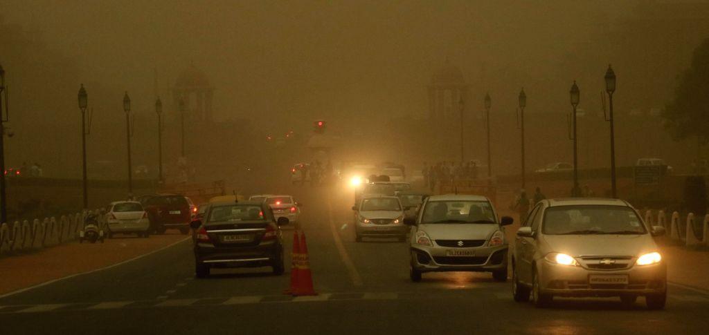 Dust storm hits New Delhi on May 23, 2016.