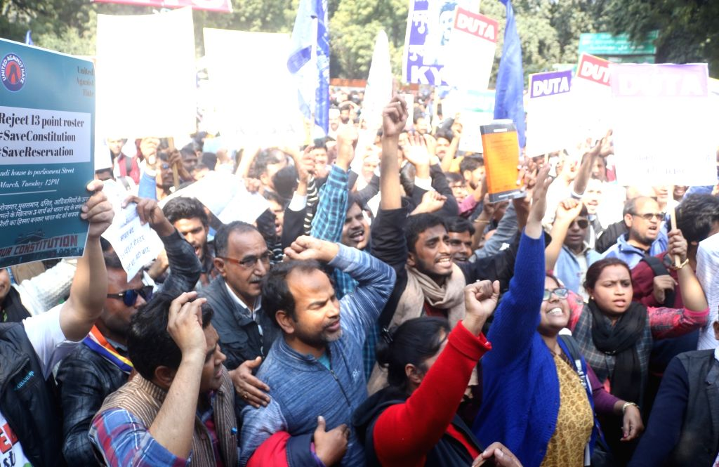 DUTA members and supporters stage a demonstration to press for their demands in New Delhi on March 5, 2019.