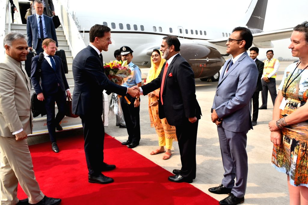 Dutch Prime Minister Mark Rutte being received on his arrival in New Delhi on May 24, 2018. - Mark Rutte