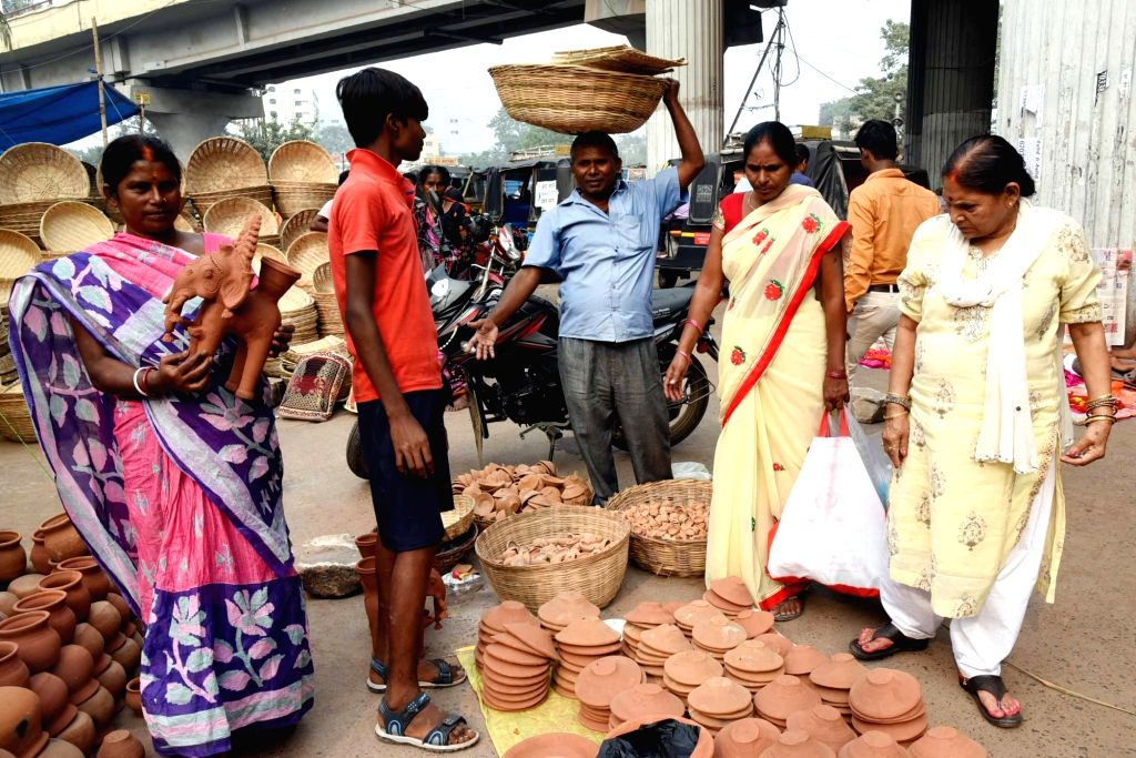 Earthen stoves on sale on the eve of Chhath Puja celebrations, in Patna on Oct 30, 2019.