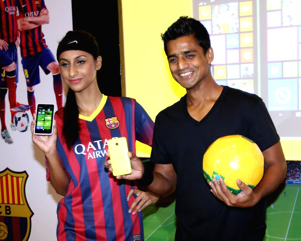 East Bengal Club footballer Mehatab Hussain during the launch of Nokia Lumia 630 in Kolkata on June 17, 2014.