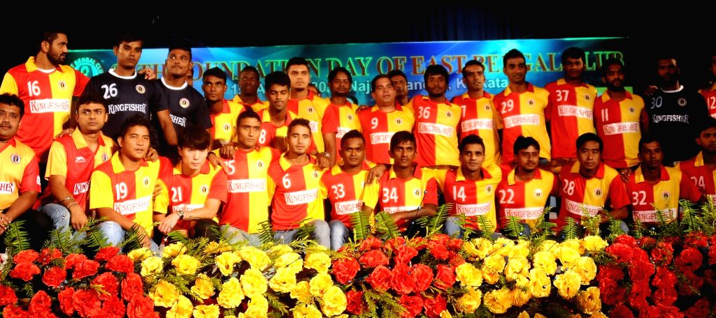 East Bengal players during 96th foundation day of East Bengal Club at Najrul Mancha in Kolkata on Aug 1, 2015.