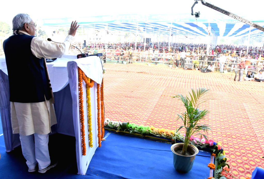 East Champaran: Bihar Chief Minister Nitish Kumar during the inauguration of various development projects at Areraj in East Champaran district of Bihar, on Dec 4, 2019. - Nitish Kumar