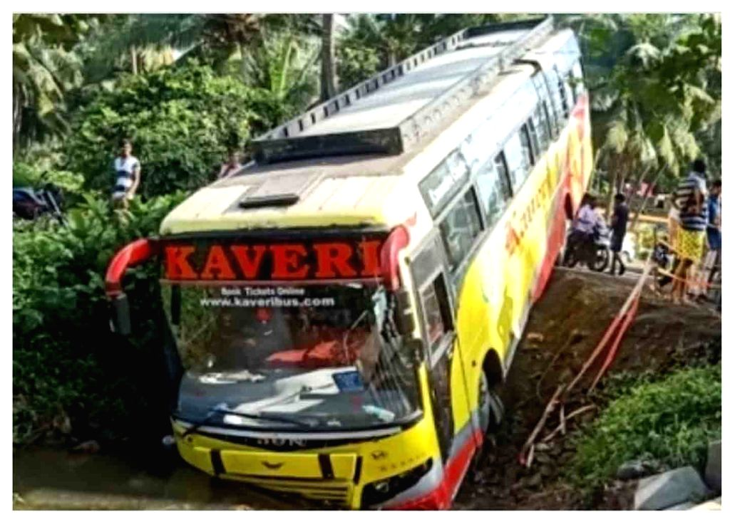 East Godavari: The bus that was traveling from Hyderabad to Amalapuram rammed into a canal after the driver lost control, at K. Pedapudi Village in East Godavari District of Andhra Pradesh on Oct 28, ...