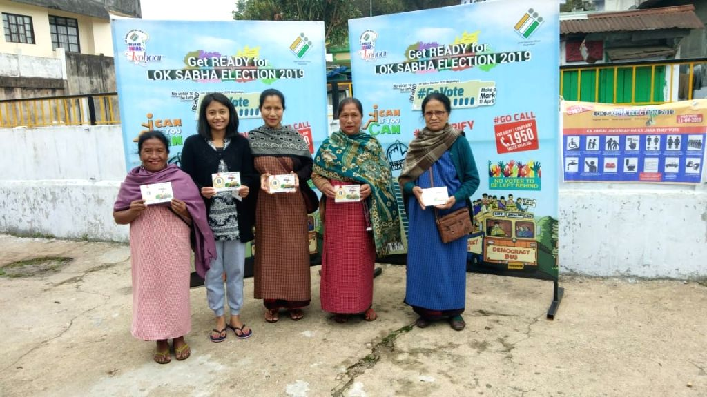 East Jaintia Hills (Meghalaya): The first five woman voters who caste their vote for the 2019 Lok Sabha elections, at Dulong polling booth in East Jaintia Hills district of Meghalaya on April 11, ...