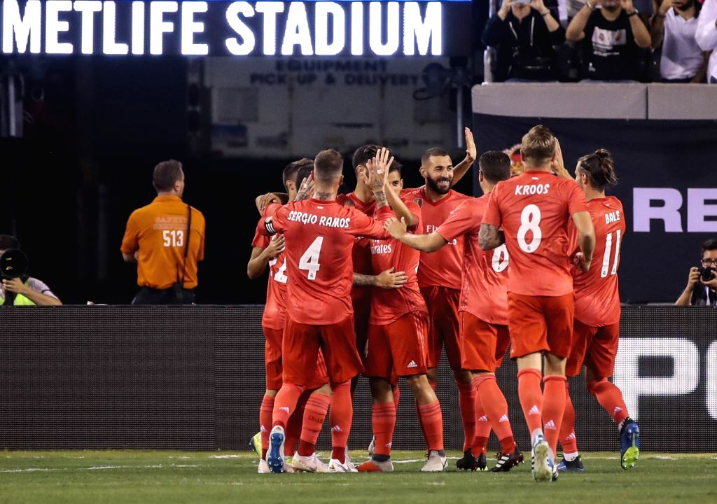 EAST RUTHERFORD, Aug. 8, 2018 - Players of Real Madrid celebrate for a goal during the International Champions Cup match between Real Madrid and AS Roma at MetLife Stadium in East Rutherford of New ...