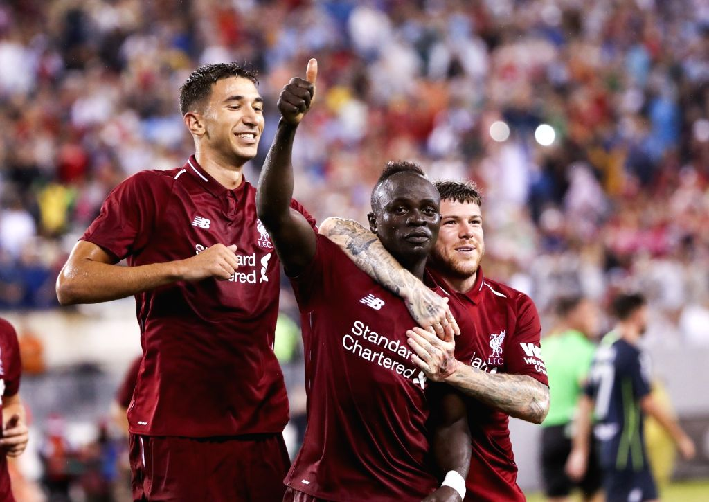 EAST RUTHERFORD, July 26, 2018 - Liverpool's Sadio Mane (C) celebrates his goal with teammates during the International Champions Cup match between Manchester City and Liverpool FC at MetLife Stadium ...