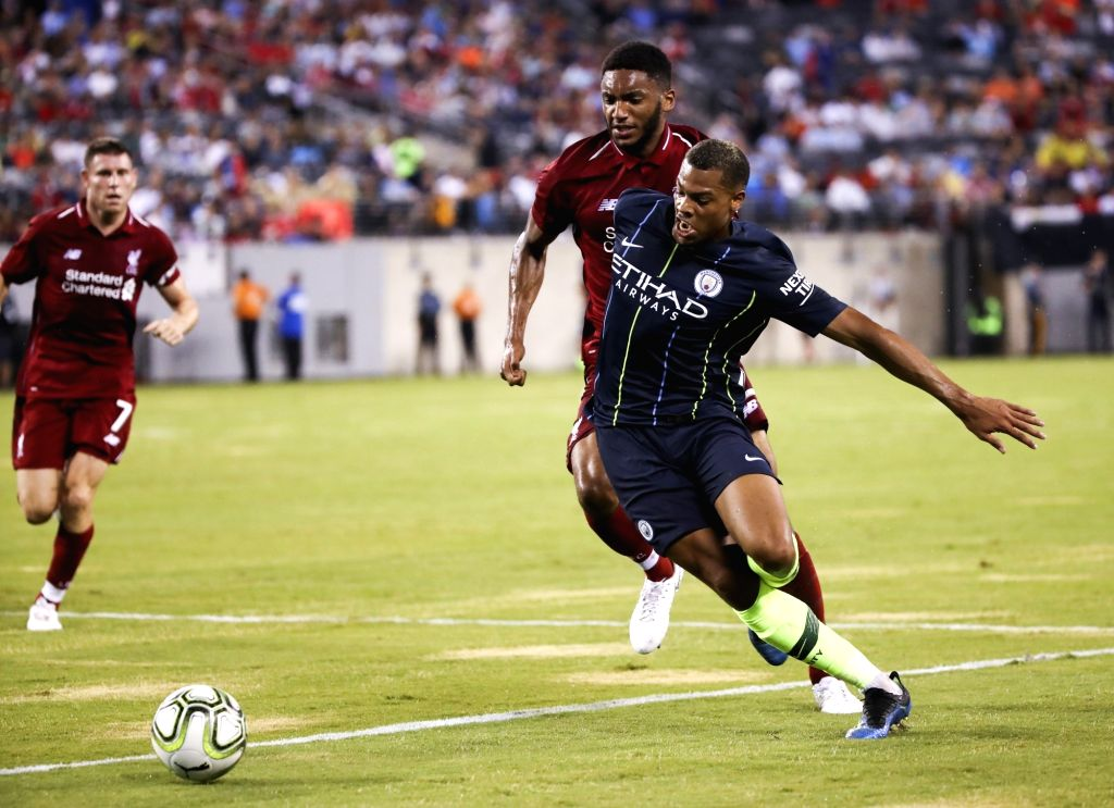 EAST RUTHERFORD, July 26, 2018 - Manchester City's Lukas Nmecha (R) dribbles the ball during the International Champions Cup  match between Manchester City and Liverpool FC at MetLife Stadium in East ...
