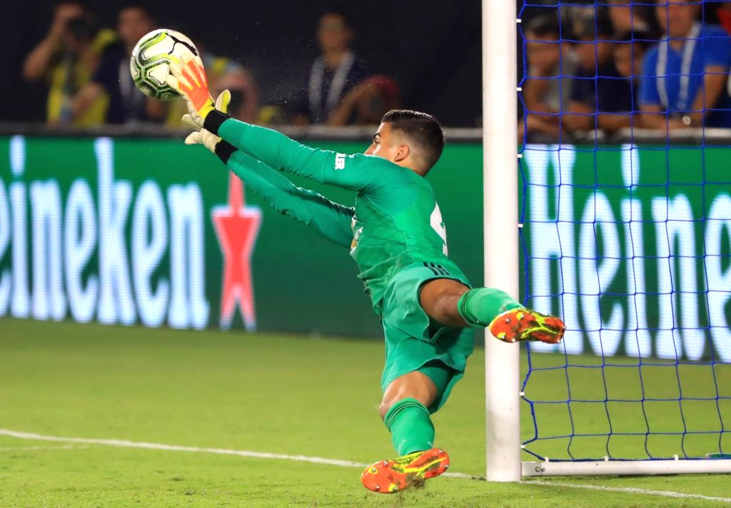 EAST RUTHERFORD, July 26, 2018 - Manchester United's goalie Joel Pereira competes during the International Champions Cup match between AC Milan and Manchester United at MetLife Stadium in East ...