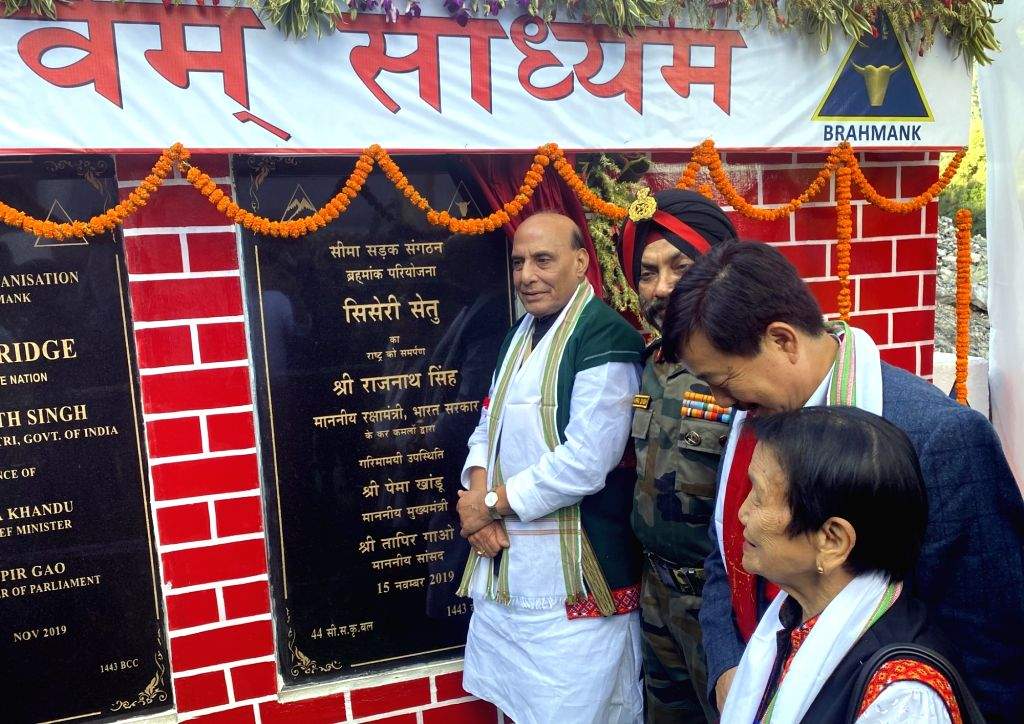 East Siang: Defence Minister Rajnath Singh inaugurates Sisseri River bridge connecting Lower Dibang Valley with East Siang, in Arunachal Pradesh on Nov 15, 2019. Also seen Arunachal Pradesh Chief ... - Rajnath Singh and Harpal Singh