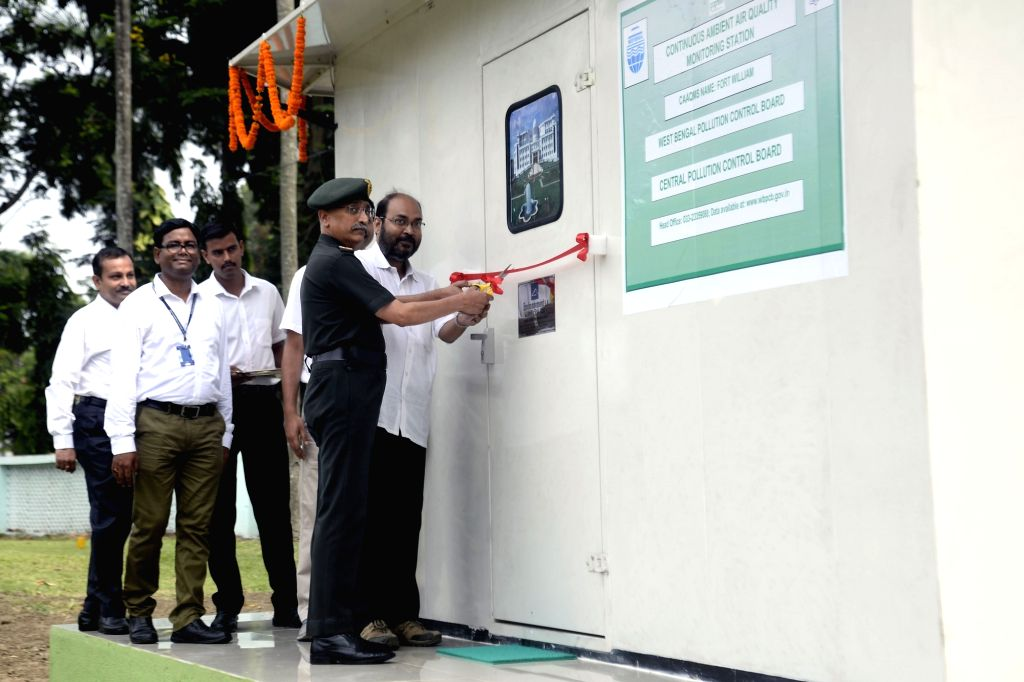 "Eastern Command General Officer Commanding-in-Chief Lt. Gen M. M. Naravane during the commissioning of ""Continuous Ambient Air Quality Monitoring System"" (CAAQMS) at Fort William ..."
