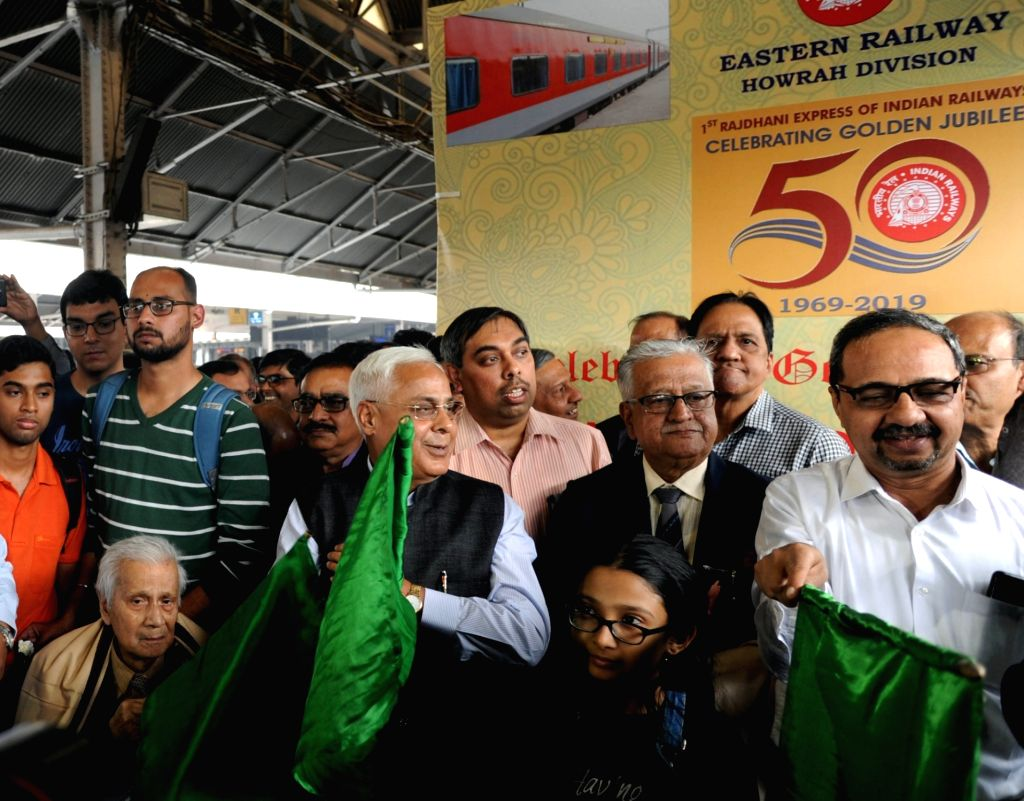 Eastern Railway General Manager Harindra Rao flags off 50 years celebration of Howrah Rajdhani Express, in Howrah, on March 3, 2019.