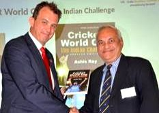 ECB chief executive along with Ashis Ray at book launch.