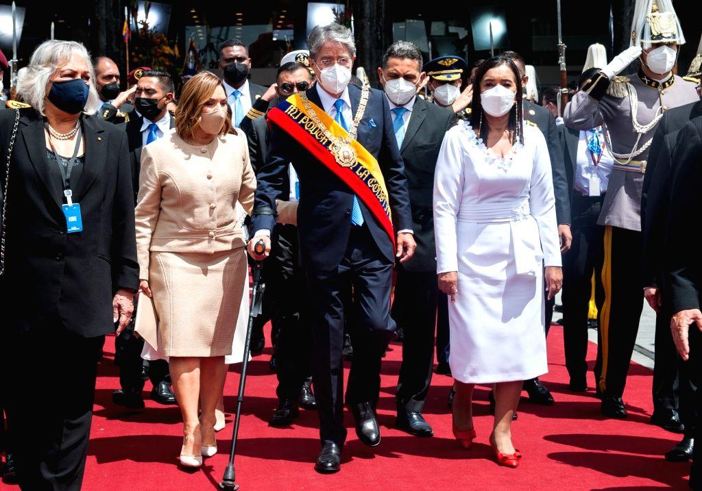 Ecuadoran President Guillermo (centre) after his inauguration on Monday. Photo: Juan Diego Montegro/dpa/IANS