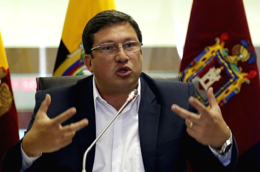 Ecuadorian Security Minister Cesar Navas addresses a press conference on the eruption of Cotopaxi volcano, in Quito, capital of Ecuador, Aug. 17, 2015. Ecuador's ... - Cesar Navas