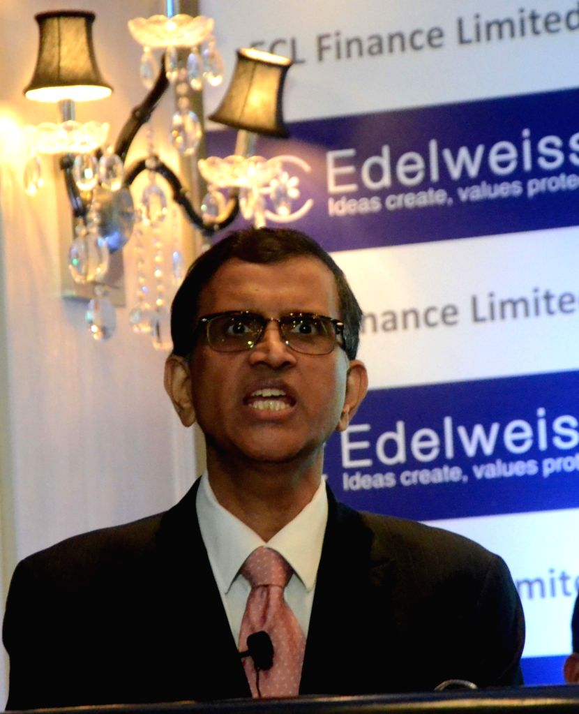 Edelweiss Capital's Chief Financial Officer (CFO) S Ranganathan addresses during the announcement of Edelweiss Capital's Q1 FY 18-19 in Mumbai on July 19, 2018.