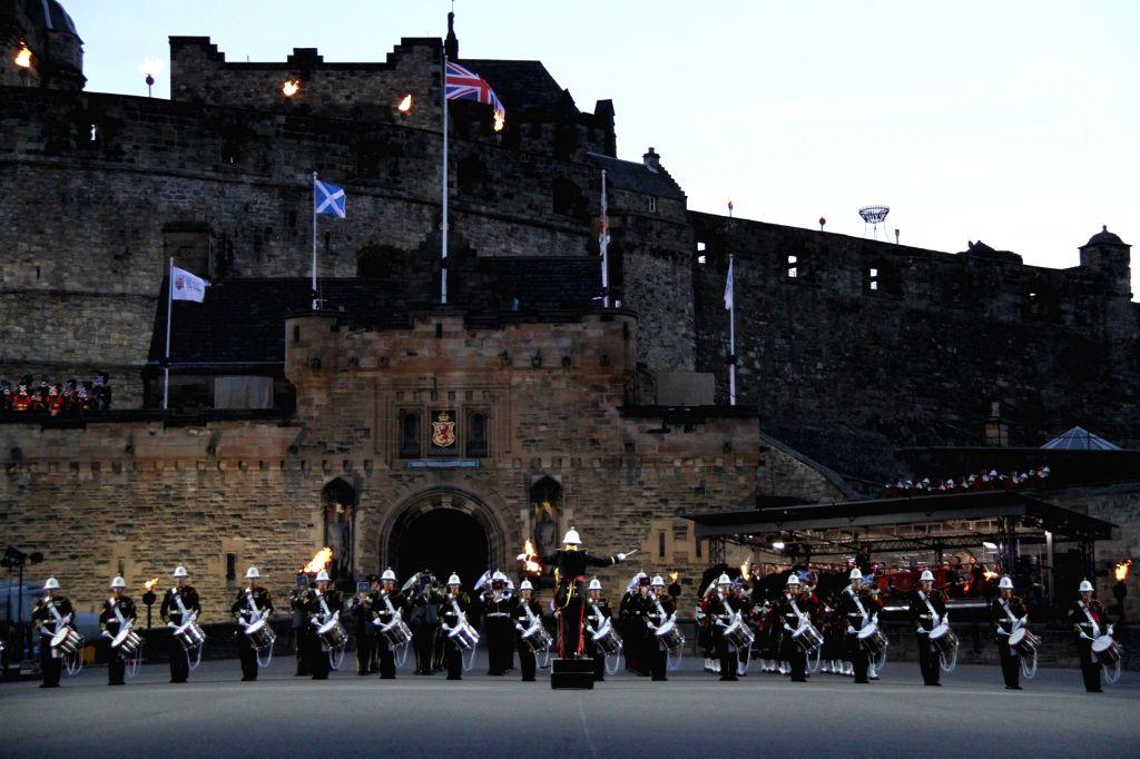 EDINBURGH, Aug. 12, 2017 - A British military band performs during the 2017 Royal Edinburgh Military Tatoo in Edinburgh, Britain, Aug. 10, 2017. The Royal Edinburgh Military Tattoo is an annual event ...