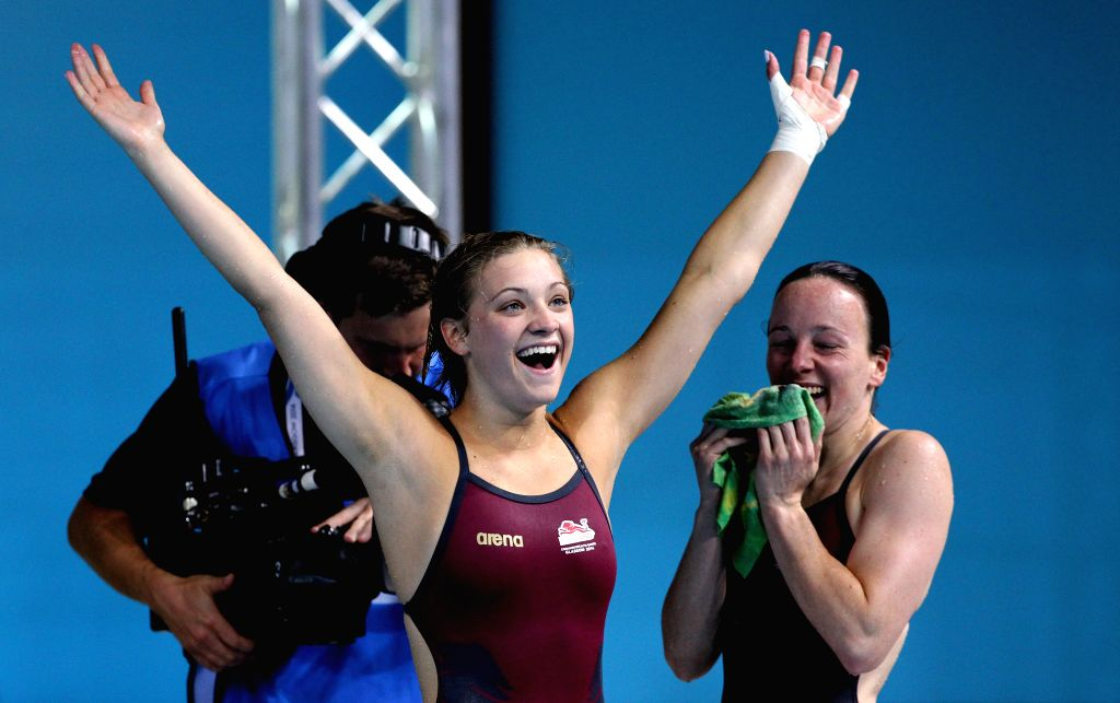 Alicia Blagg/Rebecca Gallantree of England react after the women's synchronized 3m springboard final of diving at the 2014 Glasgow Commonwealth Games in Royal ...