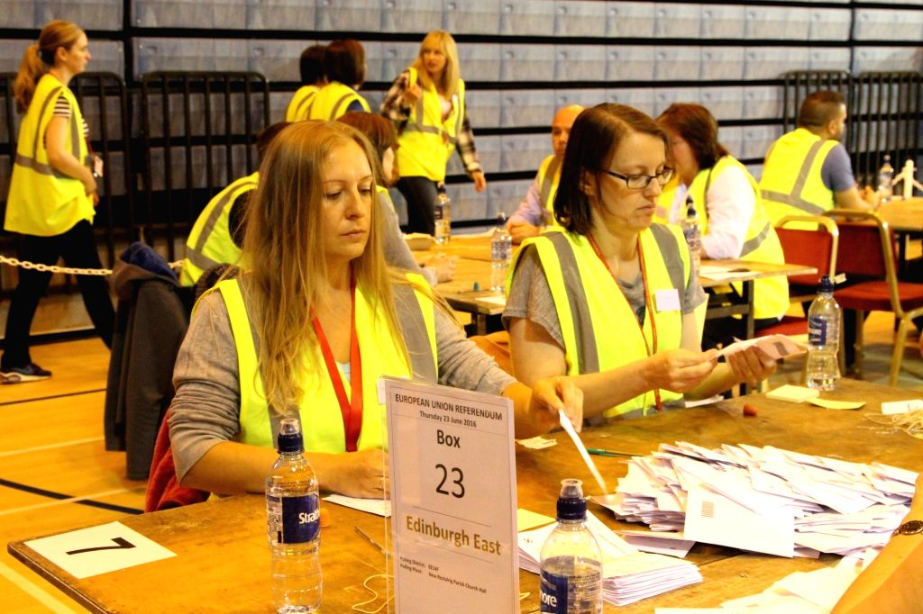 EDINBURGH, June 24, 2016 - Ballots are counted in Edinburgh, Britain, June 23, 2016. Millions of Britons voted to stay in or leave the European Union (EU) on Thursday.