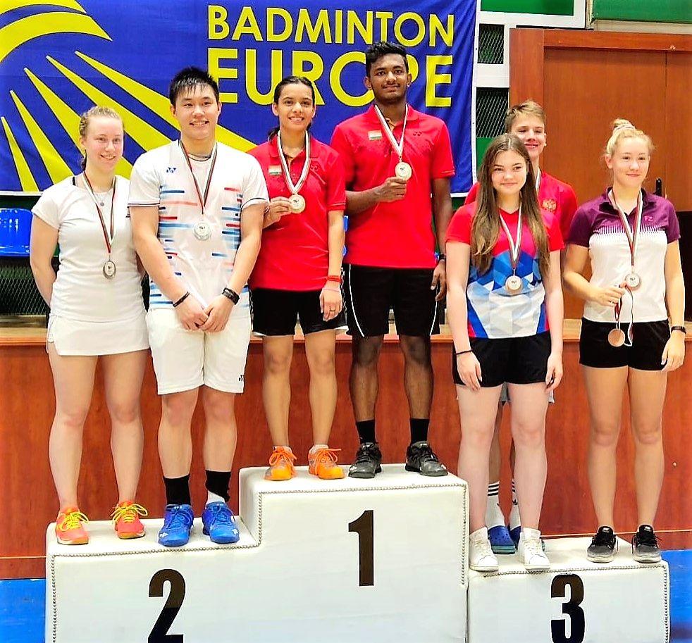 Edvin Joy and Shruti Mishra won gold in the mixed doubles category of Bulgarian Junior International Tournament. - Shruti Mishra