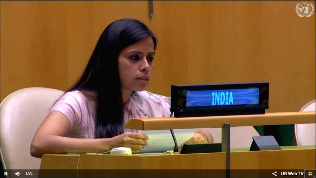 Eenam Gambhir, a counsellor at India's UN Mission exercises the right of reply to Pakistan Foreign Minister Makhdoom Shah Mahmood Qureshi's speech at the United Nations General Assembly on Saturday, Sept. 29, 2018. (Photo: UN videograb) - Makhdoom Shah Mahmood Quresh