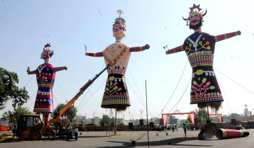 Effigies of Raavan, Kumbhakarna and Meghanada at Ramleela Ground in Amritsar, on Oct 22, 2015.