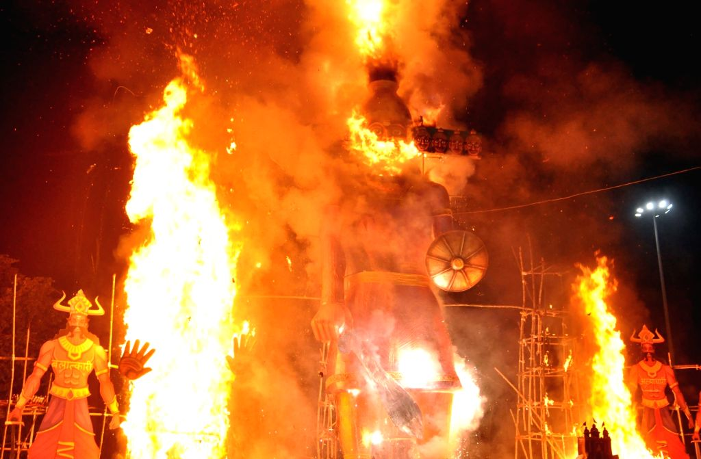 Effigies of Ravana, Kumbhakarana and Meghanada being burnt in Salt Lake on Dussehra in Kolkata on Oct 19, 2018.
