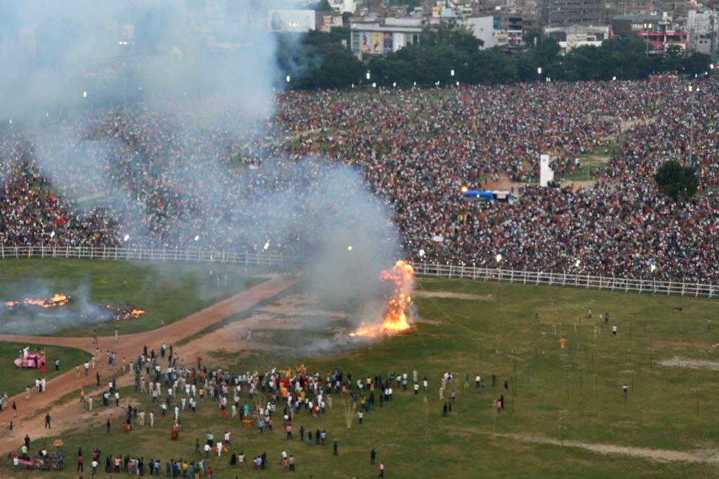 Effigy of Raavan being burnt in Patna on Vijaya Dashmi - the last day of Durga puja on Oct 8, 2019.