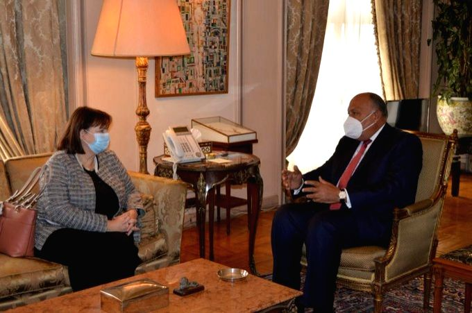Egypt Foreign Minister Sameh Shoukry, EU envoy Susanna Terstal discuss Israeli-Palestinian peace process. - Sameh Shoukry