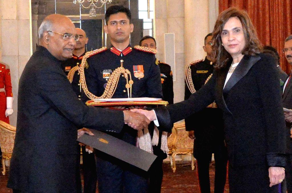 Egyptian Ambassador-designate Heba Salah Eldin El Marassi after presenting her credentials to President Ram Nath Kovind at Rashtrapati Bhavan in New Delhi, on Dec 7, 2018. - Nath Kovind