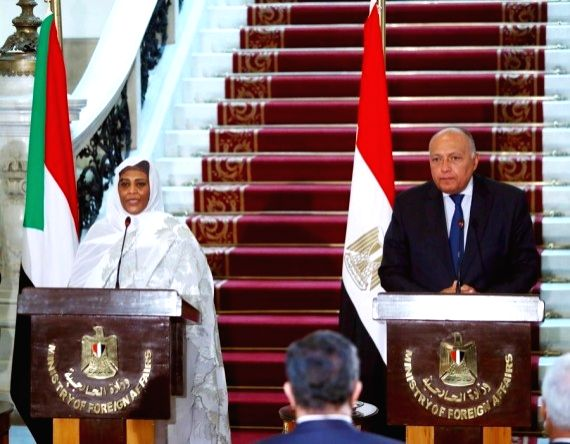 Egyptian Foreign Minister Sameh Shoukry (R) and his Sudanese counterpart Mariam al-Sadiq al-Mahdi attend a press conference after their meeting in Cairo, Egypt, March 2, 2021. - Sameh Shoukry