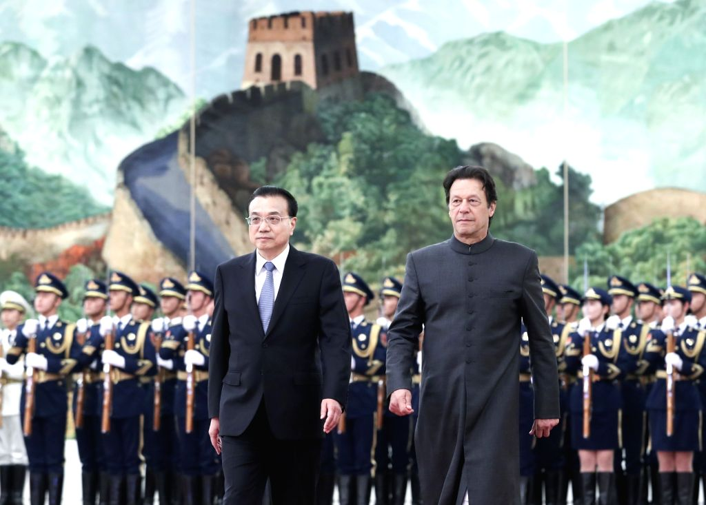 EIJING, Nov. 3, 2018 - Chinese Premier Li Keqiang (L, front) holds a welcome ceremony for Pakistani Prime Minister Imran Khan, who is paying an official visit to China, before their talks at the ... - Imran Khan