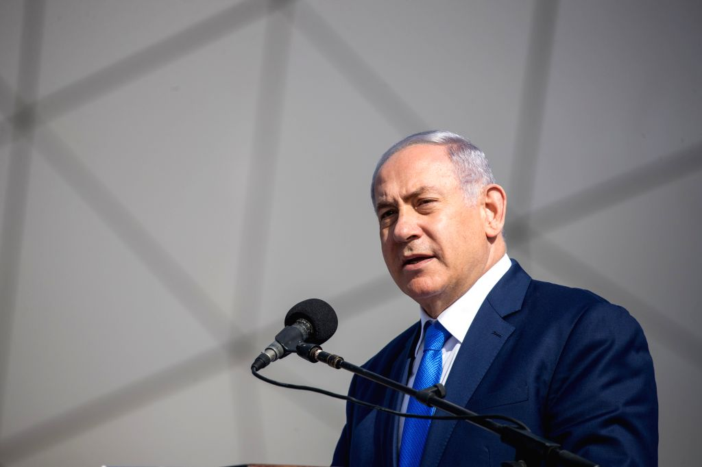 EILAT (ISRAEL), Jan. 21, 2019 (Xinhua) -- Israeli Prime Minister Benjamin Netanyahu speaks at the official launching ceremony of the Ramon Airport near the Red Sea coastal city of Eilat, Israel, on Jan. 21, 2019. Netanyahu said that Israel is much mo - Benjamin Netanyahu