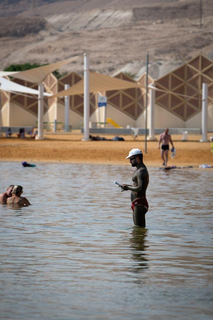 EIN BOKEK (ISRAEL), Sept. 20, 2017 A man stands in the Dead Sea at Ein Bokek, Israel, Sept. 19, 2017.