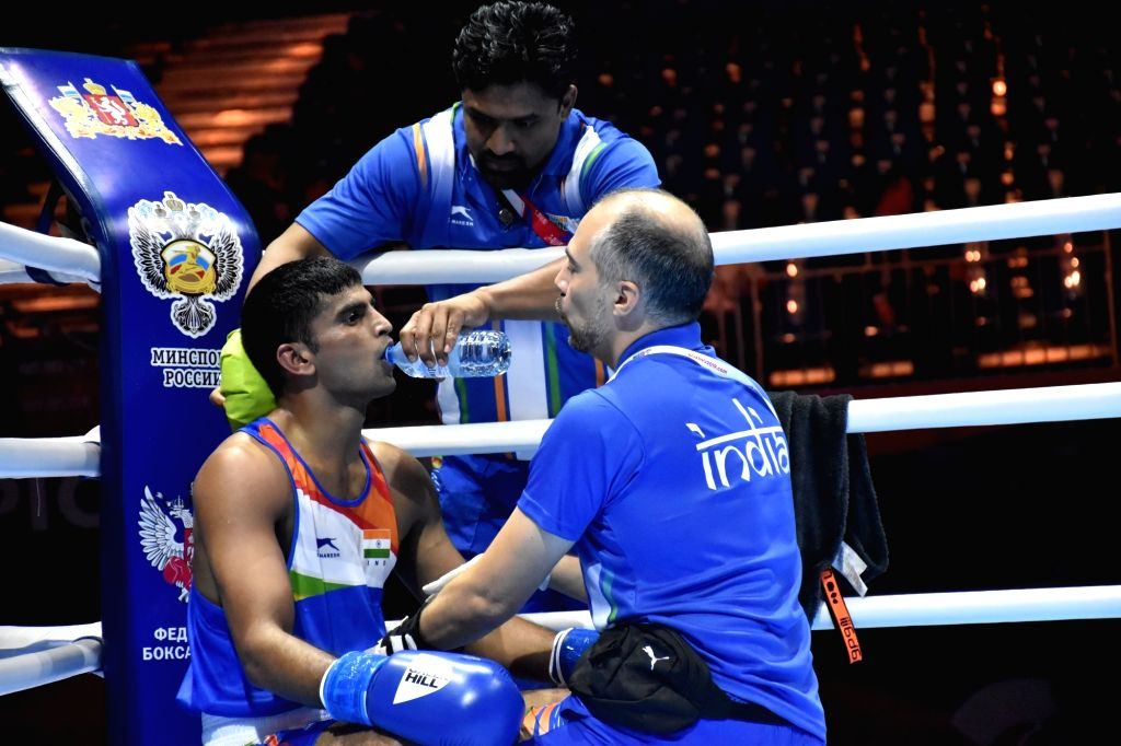 Ekaterinburg: India's Manish Kaushik during the AIBA Men's World Championships Round 1 debut match in Ekaterinburg, Russia on Sep 12, 2019. (Photo: IANS)