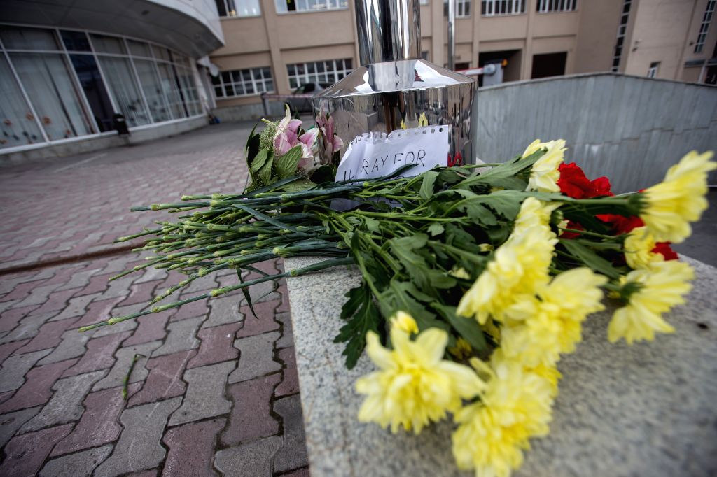 EKATERINBURG, July 15, 2016 - Flowers are laid at the entrance of the French General Consulate in Ekaterinburg, Russia, on July 15, 2016. People brought flowers to commemorate victims of terrorist ...