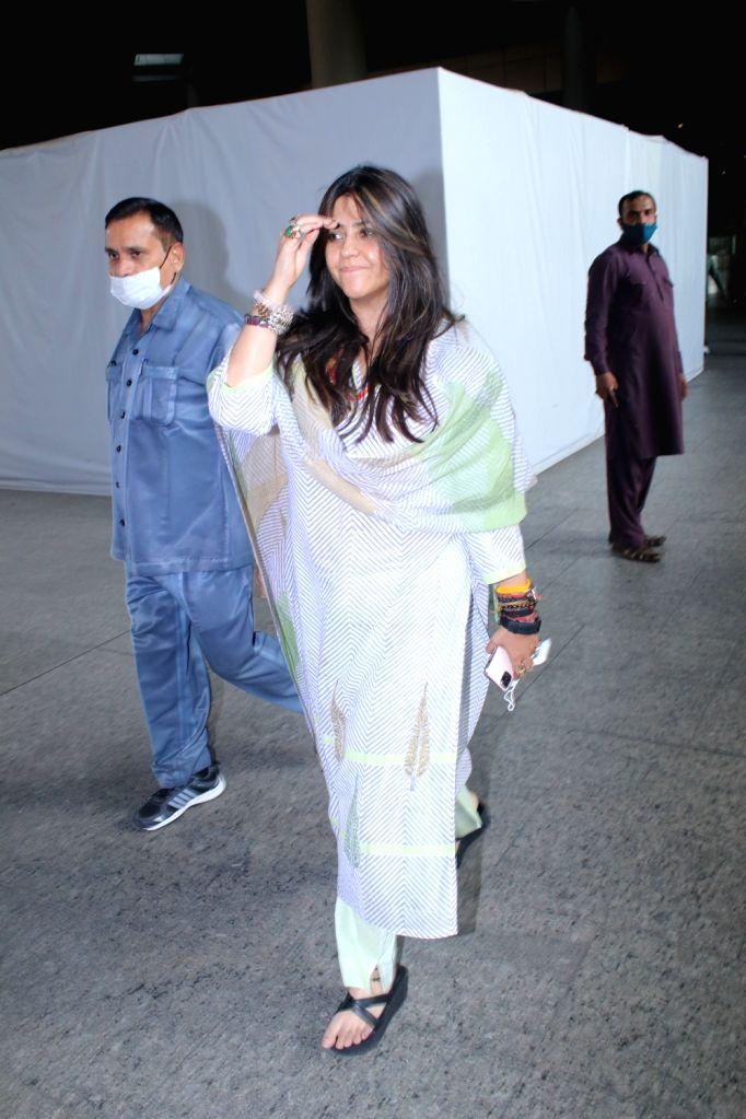 Ekta Kapoor spotted at airport arrival   on Friday 05th March, 2021. - Ekta Kapoor
