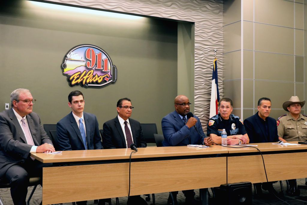 EL PASO (U.S.), Aug. 4, 2019 Photo taken on Aug. 4, 2019 shows a press conference on mass shooting in El Paso of Texas, the United States. The U.S. federal government is treating a mass ...
