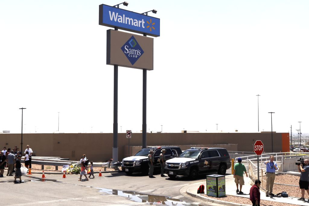 EL PASO (U.S.), Aug. 4, 2019 The Walmart shopping mall area is cordoned off after a mass shooting in El Paso of Texas, the United States, on Aug. 4, 2019. The U.S. federal government is ...