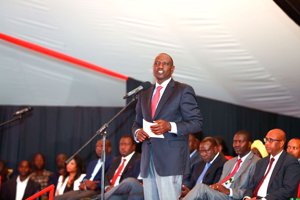 ELDORET(KENYA), July 7, 2017 Kenyan Deputy President William Ruto delivers a speech on the launching ceremony of the Special Economic Zone project in Eldoret, Kenya, on July 7, 2017. ...