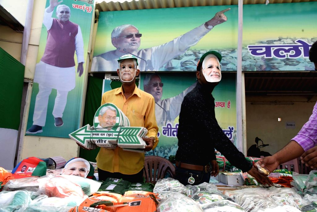 Election campaign material being sold ahead of 2019 Lok Sabha elections in Patna, on March 25, 2019.