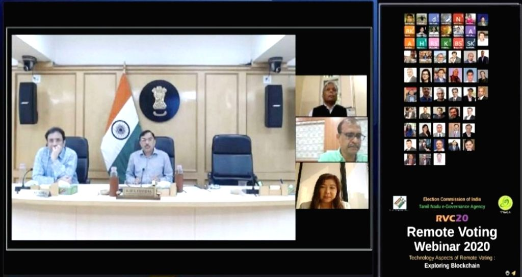 Election Commissioner Sushil Chandra at a webinar organised by the Election Commission of India, in partnership with Tamil Nadu e-governance Agency on ???Technology aspects of remote ...