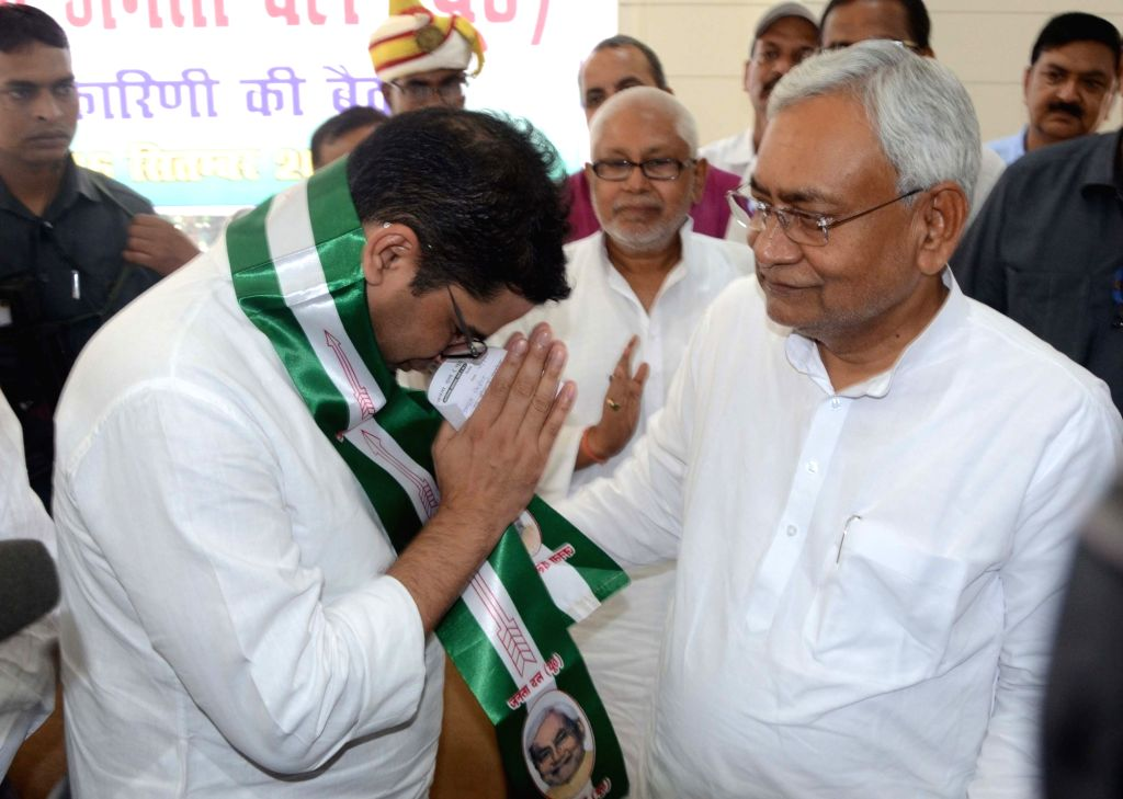 Election strategist Prashant Kishor joins JD-U in the presence of Bihar Chief Minister and party chief Nitish Kumar, in Patna on Sept 16, 2018. Kishor, 41-year-old former UN official, who ... - Nitish Kumar