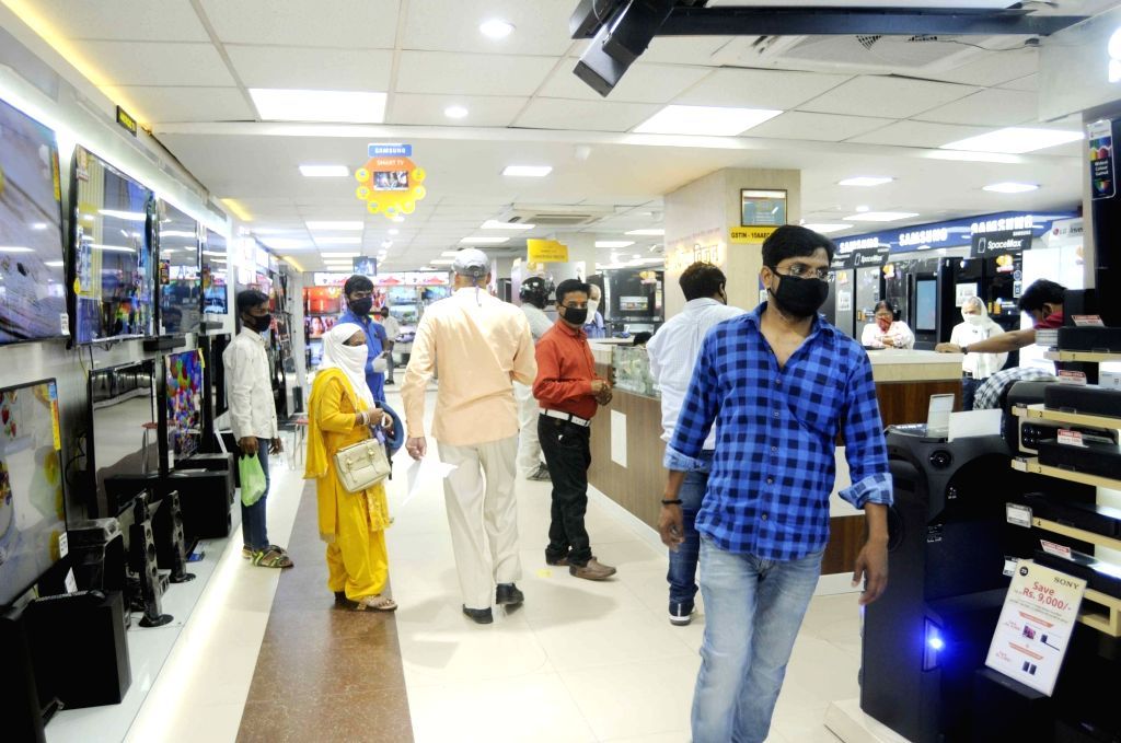 Electronic appliance shops reopened in Patna during the extended nationwide lockdown imposed to mitigate the spread of coronavirus, on May 8, 2020.