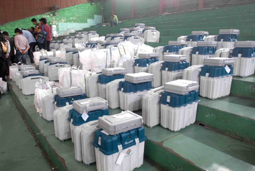 Electronic Voting Machines at a distribution center on the eve of Telangana Assembly elections in Hyderabad on Dec 6, 2018.