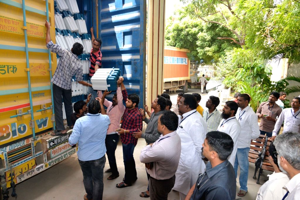 Electronic Voting Machines (EVM) being brought to Hyderabad ahead of Telangana Assembly elections, on Nov 29, 2018.