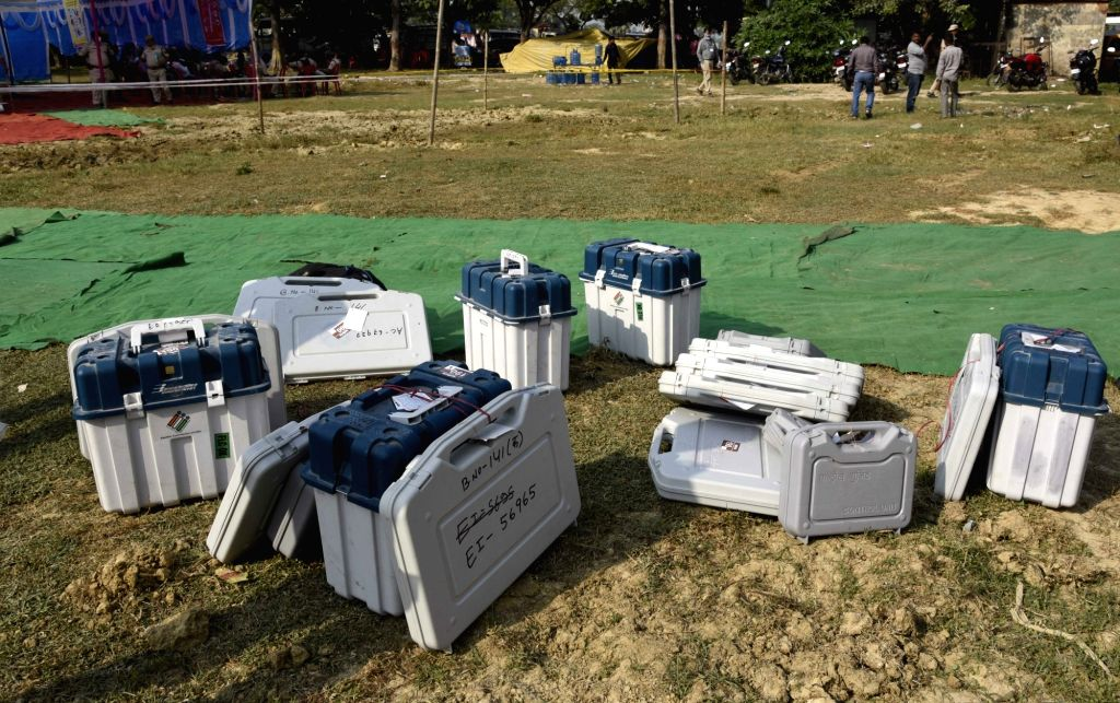 Electronic Voting Machines (EVMs) at a distribution centre on the eve of first phase of Bihar Assembly Elections, at Paliganj in Patna district on Oct 27, 2020.