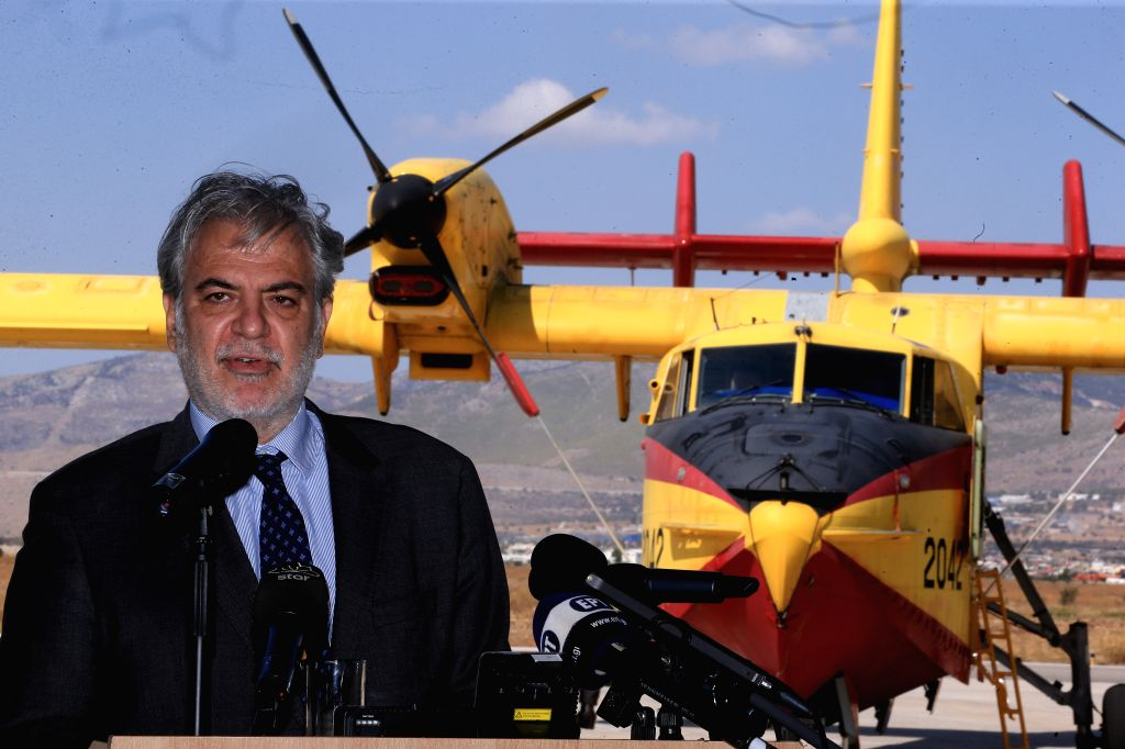 ELEFSINA (GREECE), Sept. 12, 2019 European Commissioner for Humanitarian Aid and Crisis Management Christos Stylianides addresses the media at Elefsina's airbase, near Athens, Greece, on ...