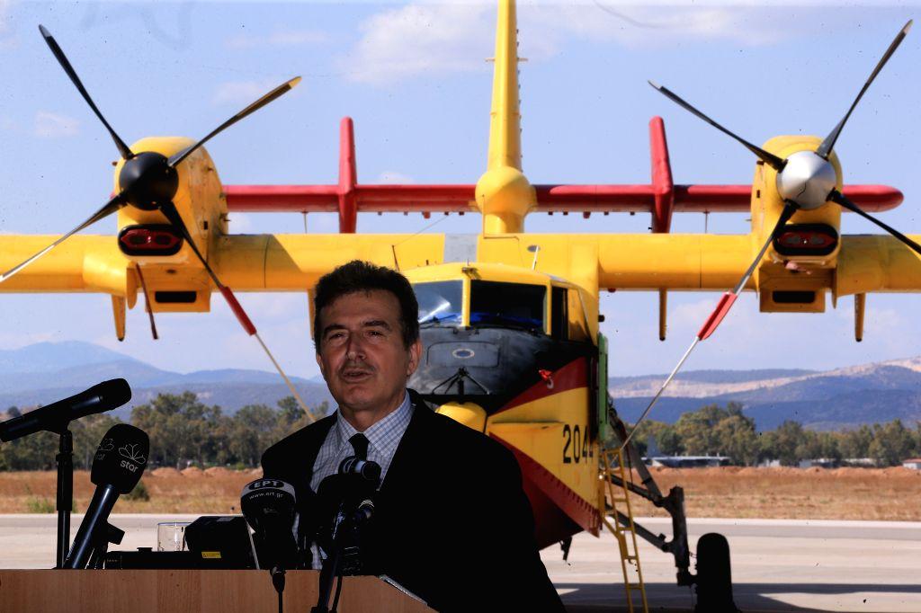 ELEFSINA (GREECE), Sept. 12, 2019 Greek Citizen Protection Minister Michalis Chrysochoidis addresses the media at Elefsina's airbase, near Athens, Greece, on Sept. 12, 2019. Greece joined ... - Michalis Chrysochoidis