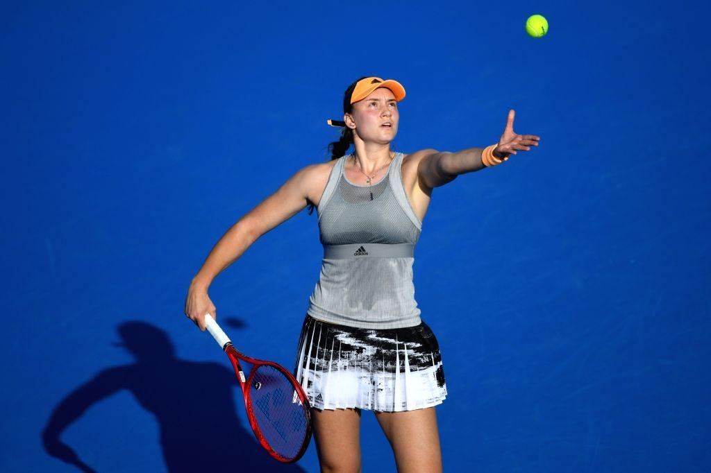 Elena Rybakina of Kazakhstan serves during the women's singles semifinal match against Kristyna Pliskova of the Czech Republic at WTA Shenzhen Open tennis ...